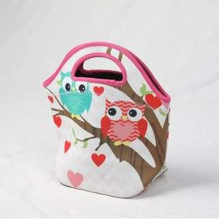 🚚 Neoprene Lunch Tote Thick Insulated Thermal Lunch Bag 27x20x12cm (Owl)