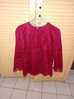 Kebaya kurung merah burgundy