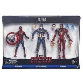 Marvel Legends Captain America Spiderman Iron 3 pack figures
