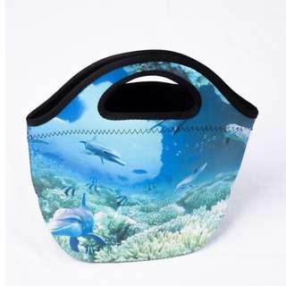 🚚 Neoprene Lunch Tote Thick Insulated Thermal Lunch Bag 27x20x12cm (Sea)