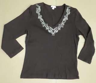 V neck Dark Brown Top