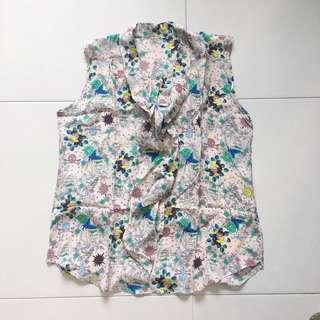 Instock! - BNIP 100% Silk Pink Printed Psychedelic Front Bow Ribbon Tie Sleeveless Blouse