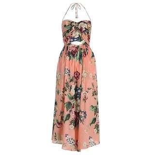 Zimmermann Pale Pink Floral Tie Dress (Size 0)