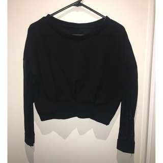 mesh sleeves black crop