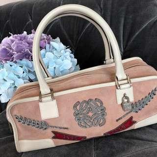 Used Loewe Amazona Women's Peach Suede Leather Shoulder Handbag Bag