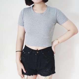 NEW!! KNITTED GREY CROP TOP