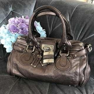 Chloe Paddington Metallic Grey Leather Shoulder Bag with Lock and Key (Used)