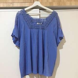 M&S Blue Linen Blouse with Lace Details