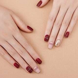 [FreeMail]Dashing diva Press on Manicure#check burgundy(slim fit series)