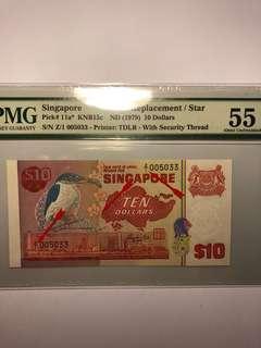 Singapore Bird series $10 Z/1 prefix Replacement Straight Thread PMG 55 About UNC