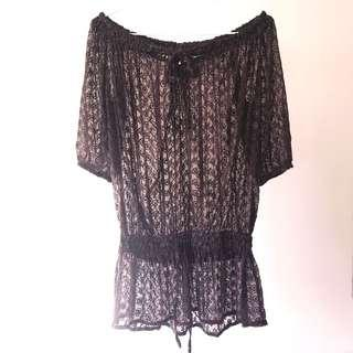*NEW* sheer embroidered beach dress size 8