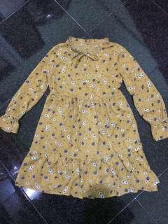 Mustard Floral Baby Doll Dress