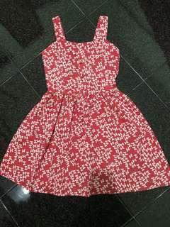 Red Bow Printed Dress