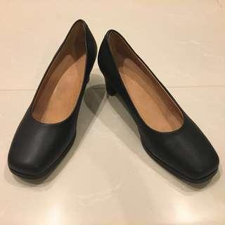 Black Leather Office Shoes