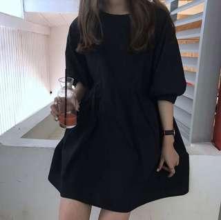 uzzlang black babydoll dress