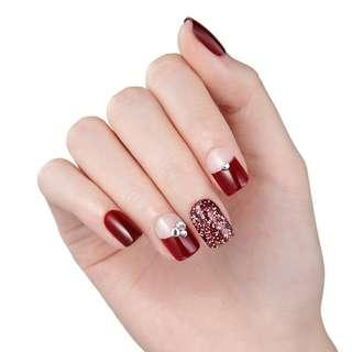[FreeMail]Dashing diva Press on Manicure#Red Poppy(slim fit series)