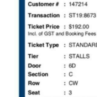 Selling1 Charlie Puth ticket at discounted price (bought for $192)