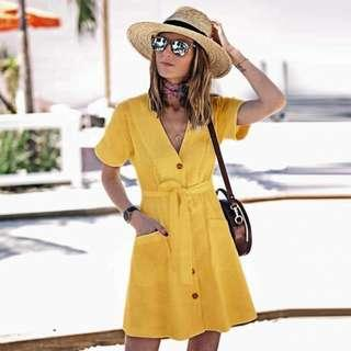 Yellow and Pink Linen Dress