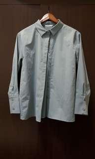 🚚 Meier Q石英藍厚雪紡長袖襯衫