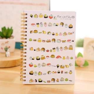 PO Cute Japanese Sumikko Gurashi Characters Sushi / Pattern Printed Note Book Notebook 4 Designs