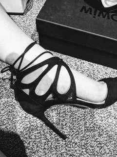 Forever New butterfly anklr black heels
