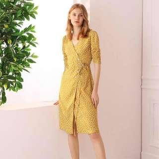 Yellow Wrap Around Dress