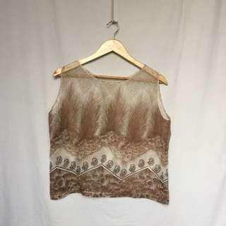80's inspired Bohemian See through Boxy Sleeveless Top