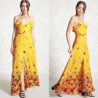yellow floral button down maxi dress
