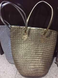 2 Rattan Bag Gold & Silver