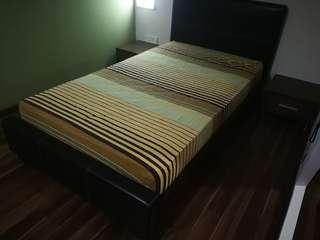 Bed, mattress + 2 side cabinet s