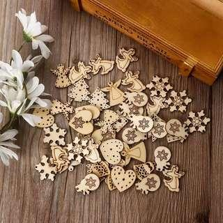 🚚 50Pcs/Pack Christmas Wood Chip Decorations