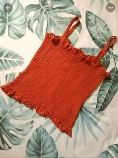 Temt Red Ruffled Crop