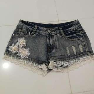 Laced Denim Shorts 25-26