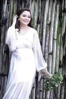 white sienna bridal robe