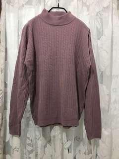 🚚 Oversize 小立領 紫藕 螺紋針織衫 vogue 街頭穿搭