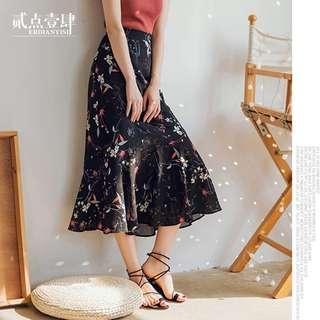 Floral Print Mermaid Midi Skirt