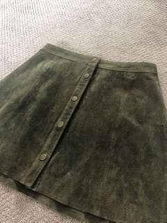 Genuine Suede Button Skirt