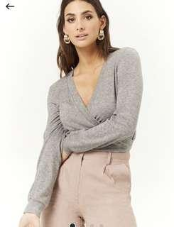 F21 marled knit splice top small