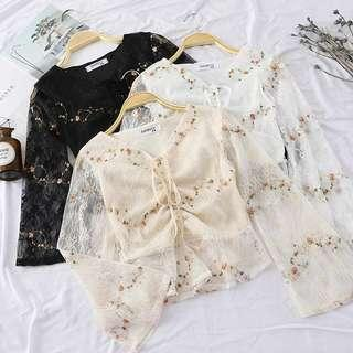 Floral Lacey Bell Sleeve Top