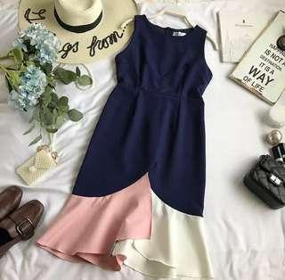 Colour Block Asymmetry Dress