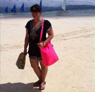Baggu sling bucket all purpose bag neon pink