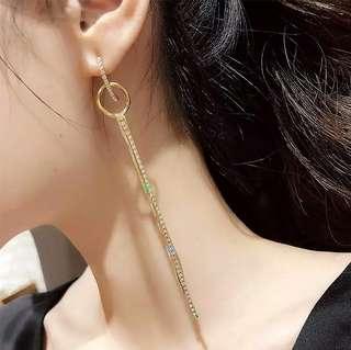🚚 現貨925純銀針交叉圓環閃鑽流蘇長款耳環/2色/修飾臉型/