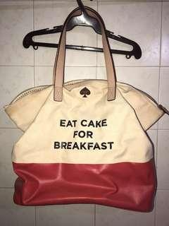 Kate Spade Eat Cake for Breakfast Call to Action Terry Tote (Limited Edition) burlap bag with leather trimmings