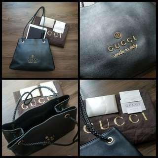 95%New GUCCI Tote Bag in Black Fullset