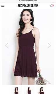 Bnwt shop sassy dream dress in burgundy