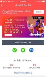 Free $5 ShopBack Referral