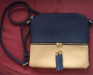 Blue and Beige Coordinates with Tassels Sling Bag