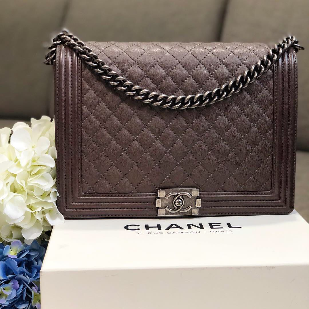 💕💕 Chanel Large Boy Flap in Bronze Metallic Calfskin RHW 1d02f927d7113