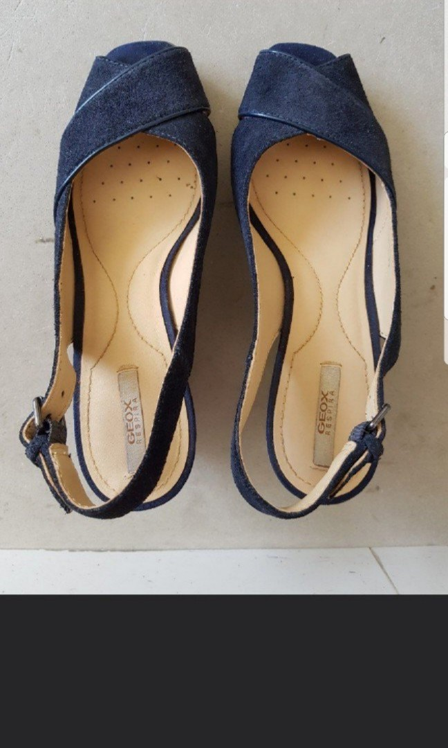 898dcecb6ce Almost new GEOX Respira navy sling back platform shoes size 5 ...