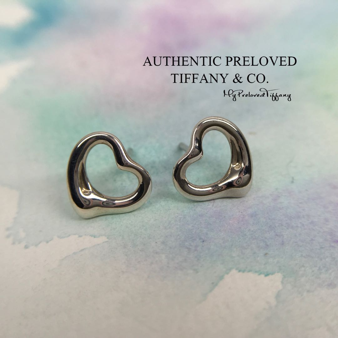 c2a2acef3 Authentic Tiffany & Co. Elsa Peretti Open Heart Earrings NO BACKS 70 ...